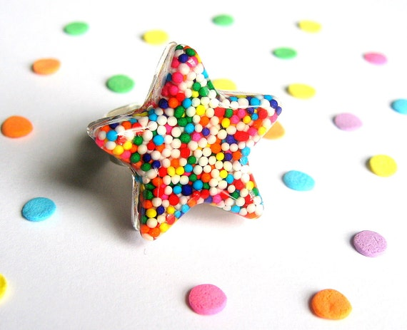 Sprinkles Resin Ring - Rainbow Star - Candy Jewelry - Kawaii Kitsch - Real Sprinkles