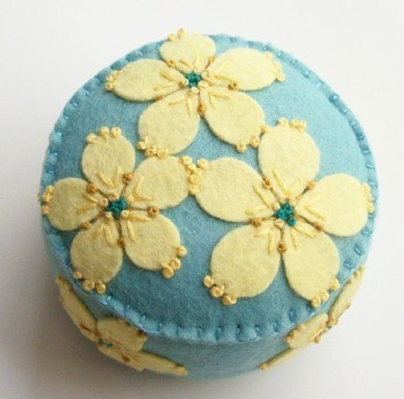 Baby Blue Pincushion with Yellow Flowers
