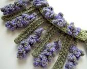 Crochet Necklace LAVENDER flowers cashmere