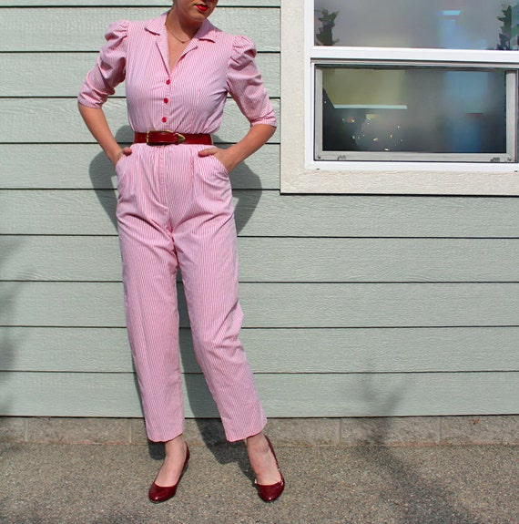 Reserved for Amelia -- Joni Blair Pinstripe Jumpsuit in Bubblegum Pink
