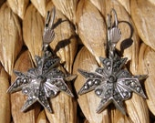 Antique Marcasite and pewter Maltese Cross earrings - RESERVED for Sonya
