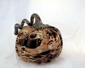 Black and Tan Hand Blown Glass Pumpkin