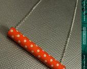 SALE--Vintage Orange Polka Dots -- Upcycled Tin Tube Necklace