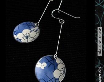 Cream Blossoms on Blue -- Long Basin Earrings