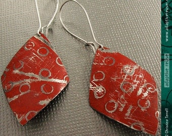 Antiqued Red Diamonds--Upcycled Tin Earrings