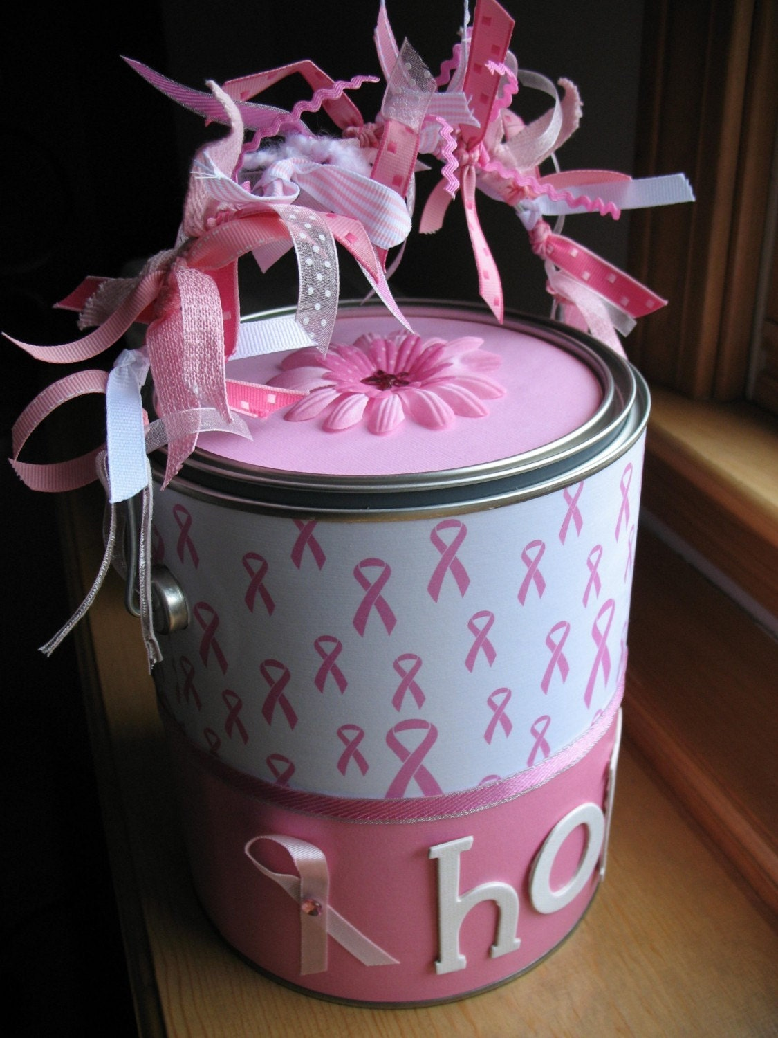 Breast Cancer Awareness Gift Basket Altered Paint Can Chemo