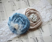 Lace Bridal Garter Set- Soft Blue and Champagne Rosettes Something Blue Lace Wedding Garter Set (choose any colors)