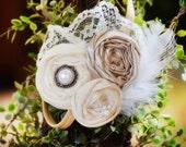 Flower Girl Headband, Vintage Headband, Champagne Headband Bridesmaids Headband Flower girl Headband Feather and lace headband