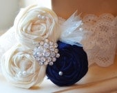 Navy wedding garter SET- choose any colors - Navy BLUE / Vintage Wedding Dress garter belt / something Blue / Navy and Ivory / lace garter /