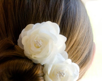 Vintage Wedding Hair Flowers Bridal hair piece Ivory flower hair pins includes 2 hair pins
