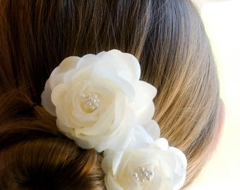 Wedding Hair Flower /  Bridal Hair Piece / Bridal Headpiece (includes 2 Ivory hair pins) Vintage Wedding Flowers