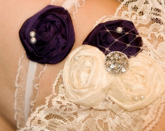 Wedding Garter Set - Deep purple garter / Couture Lace Bridal Garter Set / PURPLE garters / vintage wedding accessories