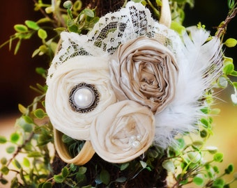 Flower Girl Headband, Vintage Headband, Champagne Headband Bridesmaids Headband Flower girl Headband Feather and lace headband