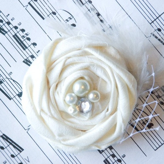 Wedding hair Flower in Ivory Silk Rosettes Rosette Flower rhinestone pearl accents- bridesmaids hair piece / wedding hair piece accessories