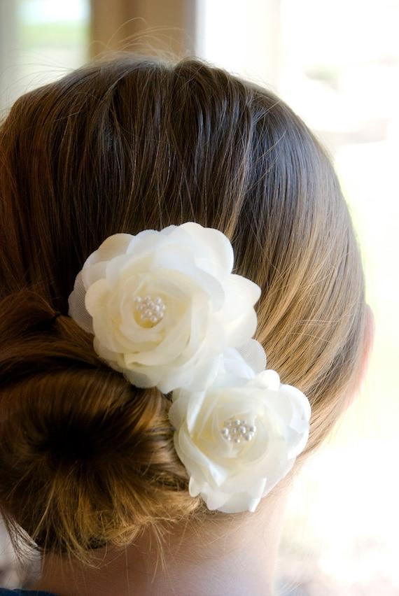 Vintage Wedding Hair Flowers Bridal hair piece Ivory flower hair pins includes 2 hair pins