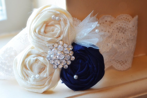 Weddings Navy Blue Garter Something Blue Bridal Garter, Lace Bridal Garter