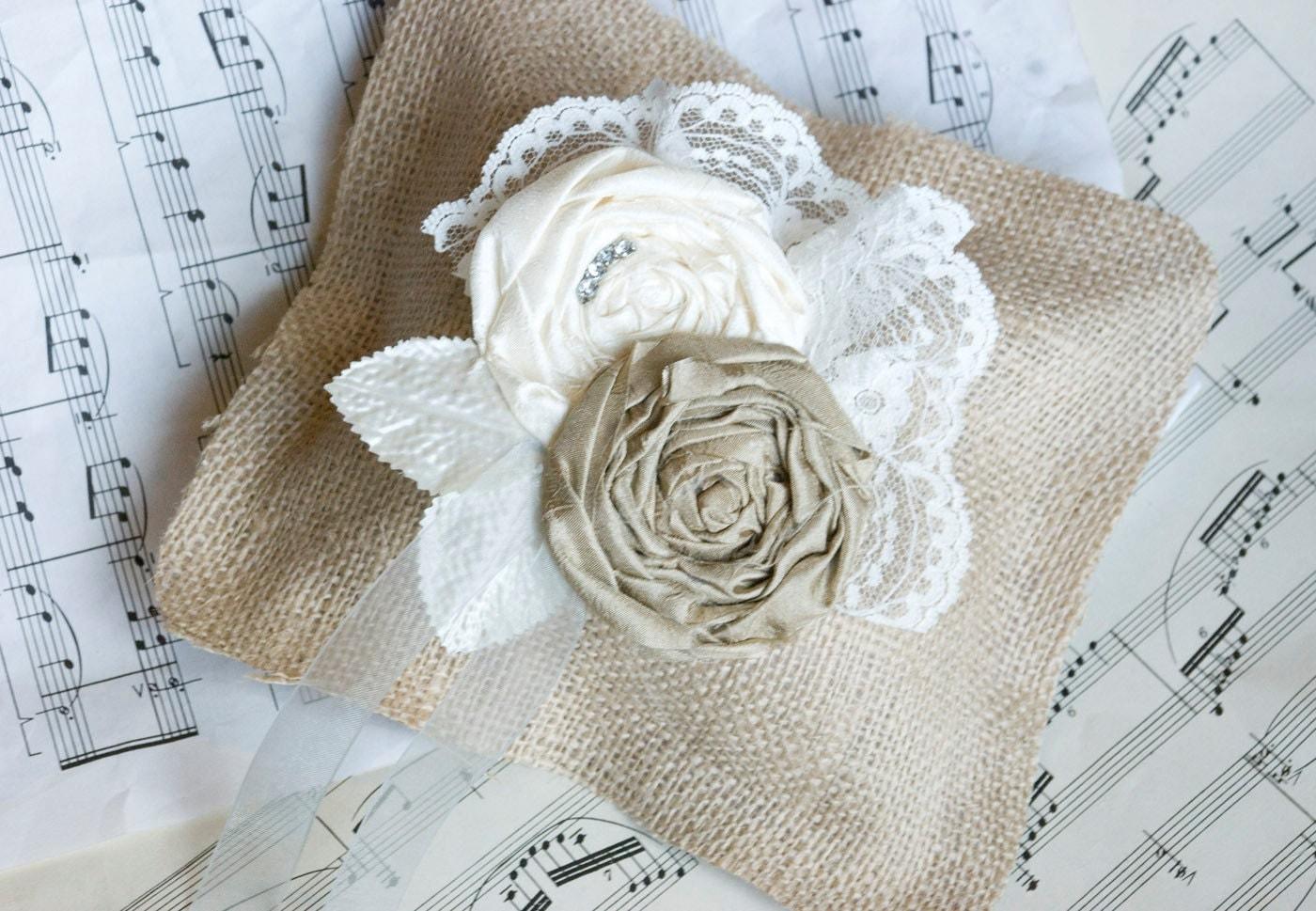 Rustic Burlap Wedding Ring Pillow Vintage Shabby Chic