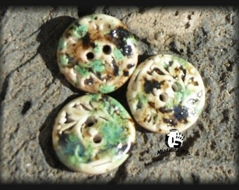 3 Cappuccino Mint Glazed Stoneware Buttons