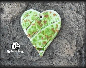 Leaf Textured  Heart Pendant