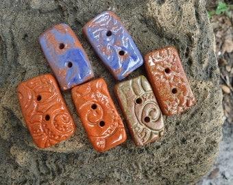 6 Textured Stoneware Buttons