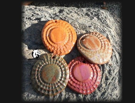 4 Pressed and Textured Stoneware Pendants