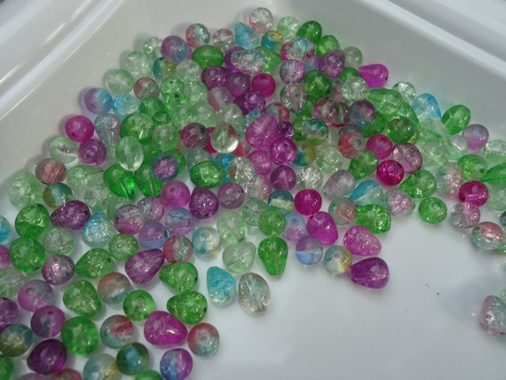Multicolored Pastel Crackle Beads