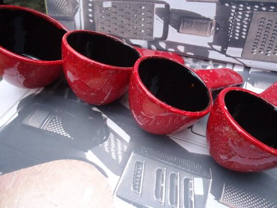 Red Speckled Porcelain Measuring Cup Set