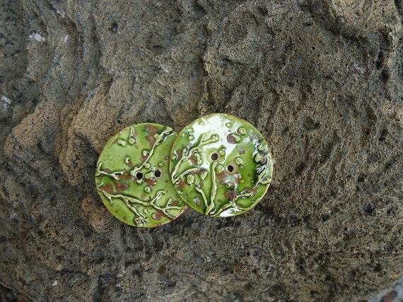 2 Padoga Green Stoneware Buttons