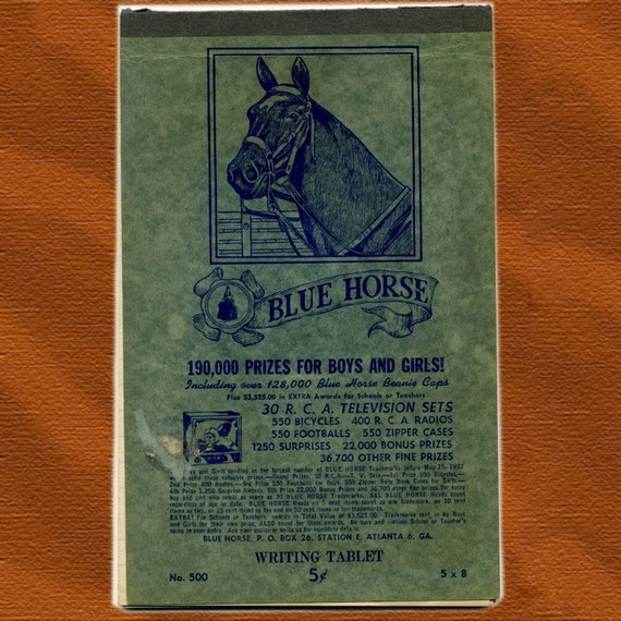 1940s Blue Horse Writing Tablet - school note book - great graphics
