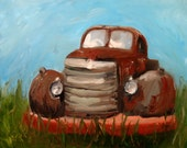 RESERVED FOR APRIL - Rusty - Original Oil Painting of an Old Antique Truck- 16x20 on gallery wrapped canvas