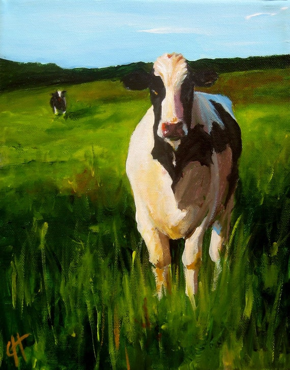 A Cow Pasture - Original Painting - 8x10 on wrapped canvas