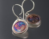 Etched Sterling Silver and Copper Flame Patina Earrings