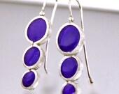 Resin Sterling Silver Amethyst Graduated Circle Earrings