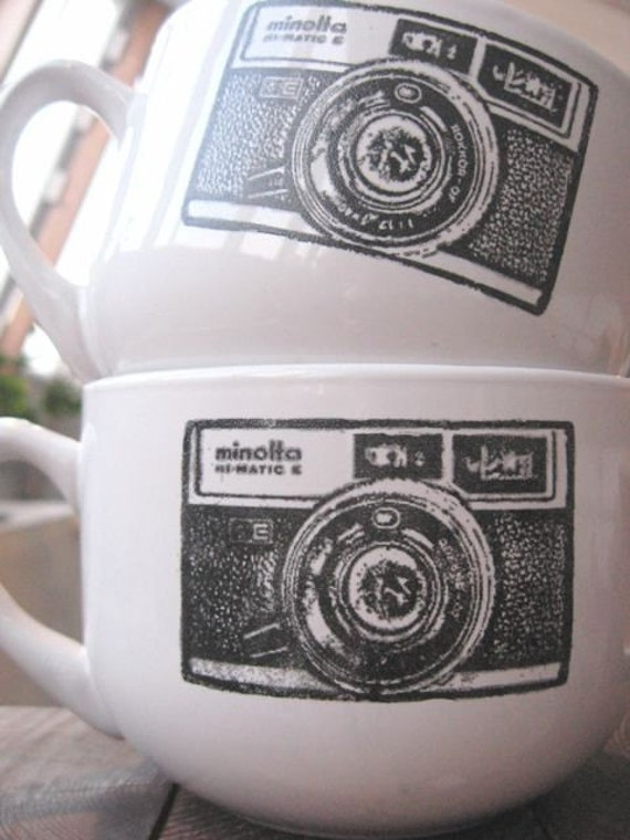 Set of 2 vintage camera coffee bowls