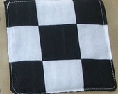 Crinkle Patty Baby Toy-black and white checks and scrolling stripes