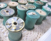 Vintage Wood Spools, Old Wooden Spools, Green, Colored, Painted, Sewing, Organization, cssteam