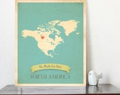 Choose Your Continent Personalized Vintage Map Wall Art 11x14