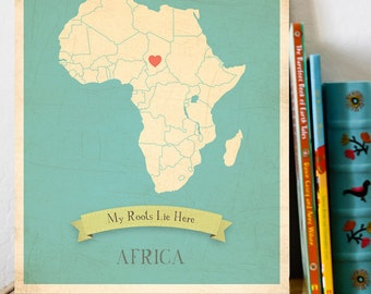 BUY 2 GET 1 FREE  Africa Roots Map 11x14 Customized Print