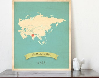 BUY 2 GET 1 FREE  Asia Roots Map 11x14 Customized Print