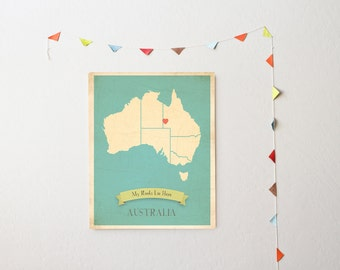 Australia Roots Map 11x14 Customized Print
