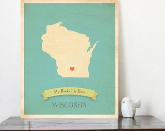 BUY 2 GET 1 FREE  Wisconsin Roots Map 11x14 Customized Print