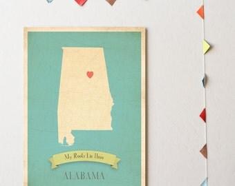 Alabama Roots Map 11x14 Customized Print