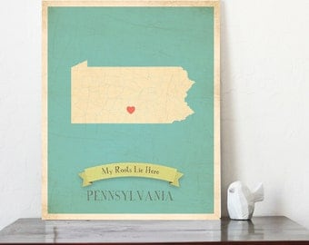BUY 2 GET 1 FREE   Pennsylvania Roots Map 11x14 Customized Print