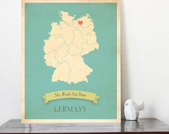 BUY 2 GET 1 FREE  Germany Roots Map 11x14 Customized Print