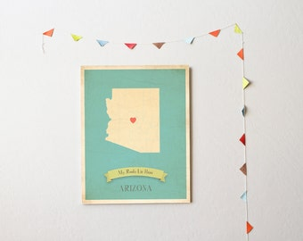 BUY 2 GET 1 FREE  Arizona Roots Map 11x14 Customized Print