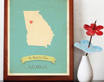 BUY 2 GET 1 FREE  Georgia Roots Map 11x14 Customized Print