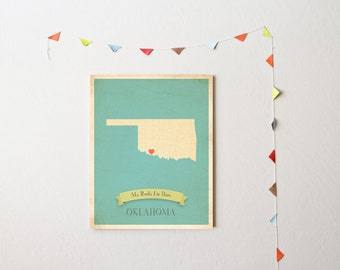 BUY 2 GET 1 FREE  Oklahoma Roots Map 11x14 Customized Print