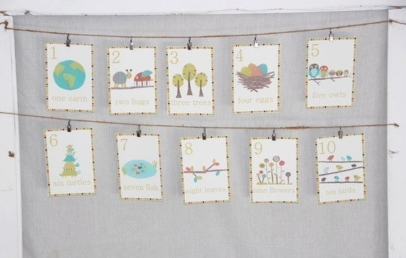 Bilingual Eco Wall Cards One through Ten Nature Scenes