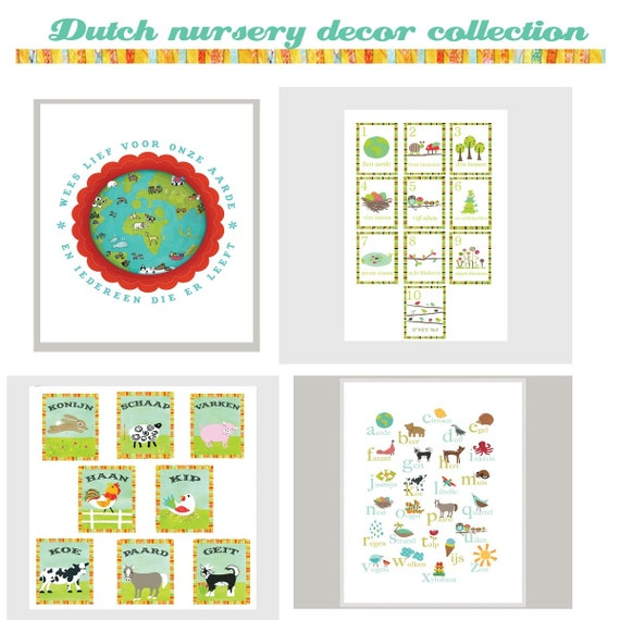 Dutch Global Child Room Collection, Alphabet Print, Animals and Counting Wall Cards, Compassion for our Earth Poster