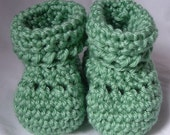 50% OFF SALE Crochet Baby Booties in Sage Mint Green